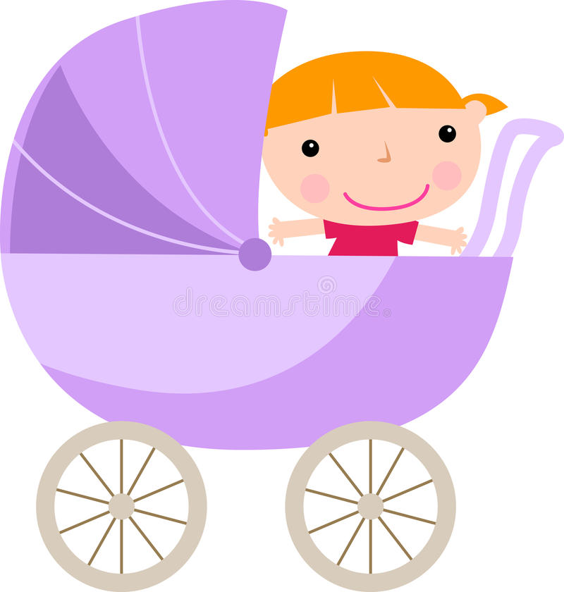 Download Baby girl in carriage stock vector. Image of child, beauty - 14407161