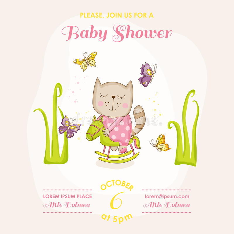 Baby Girl Cat on a Horse - Baby Shower or Arrival Card. In vector stock illustration
