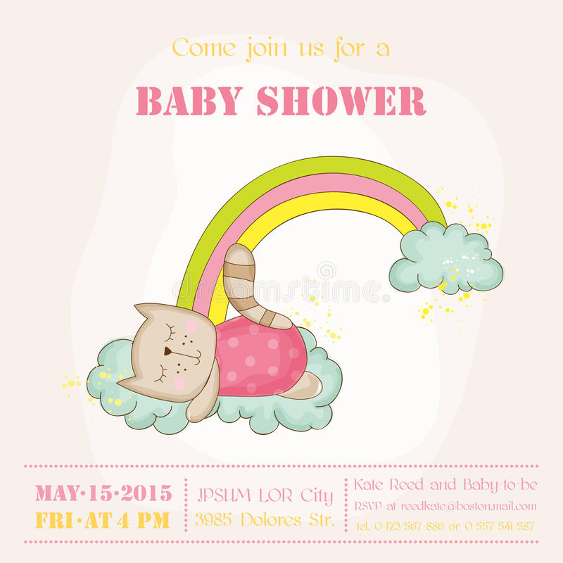 Baby Girl Cat Sleeping on a Rainbow - Baby Shower or Arrival Card stock illustration
