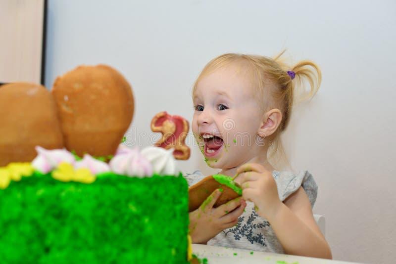 Baby girl celebrate her second birthday stock photo