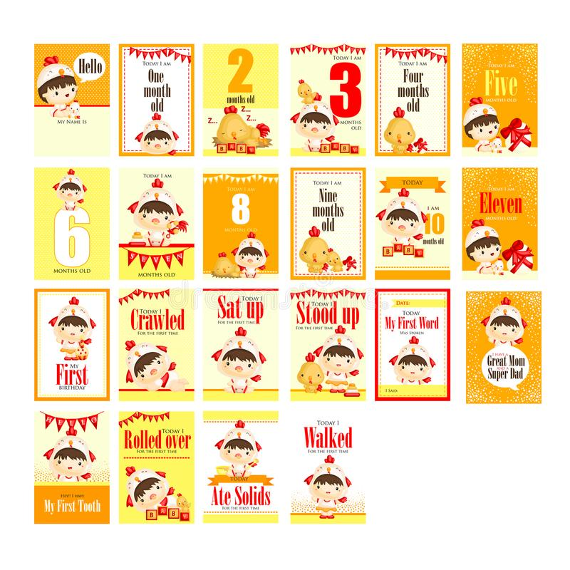 Baby girl with chicken costume milestone card royalty free illustration