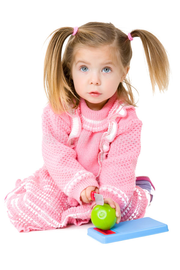 Baby Girl with chopping board royalty free stock image