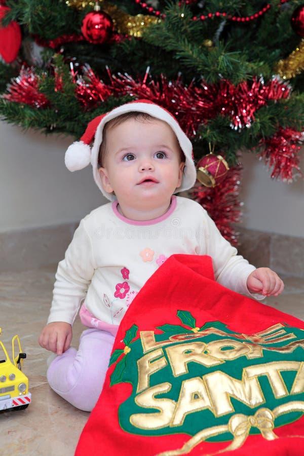 Baby Girl at Christmas stock photo