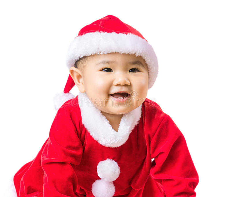 Baby girl with christmas dressing stock images