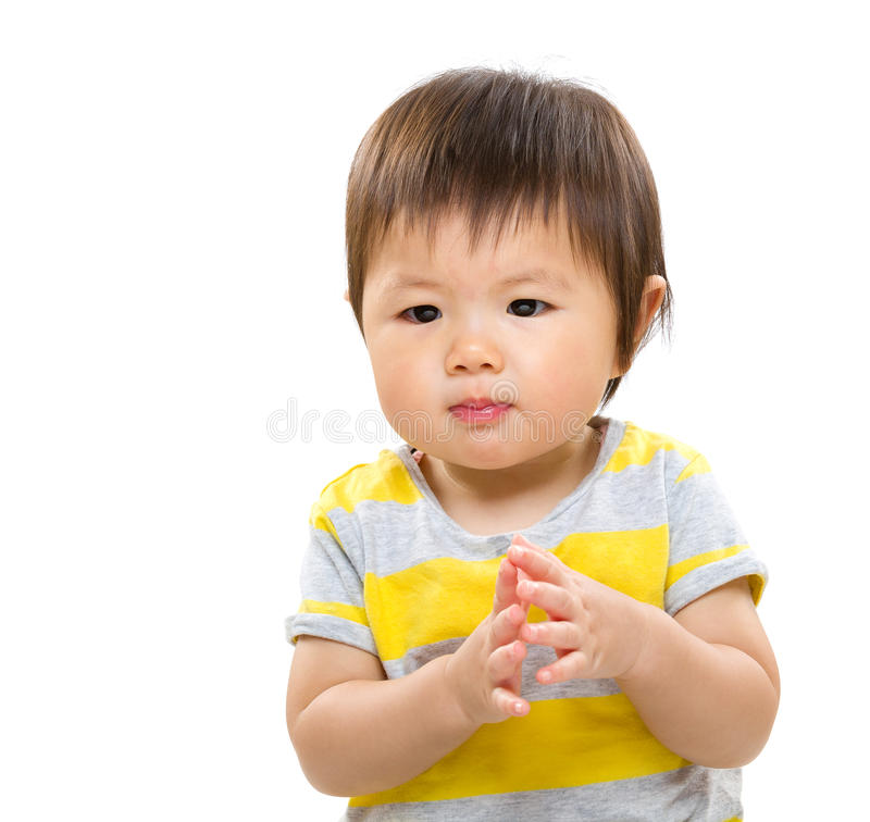 Baby girl clap hand royalty free stock photography