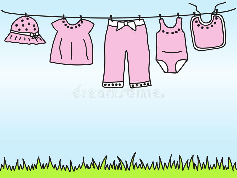 Baby girl clothes on clothesline stock illustration