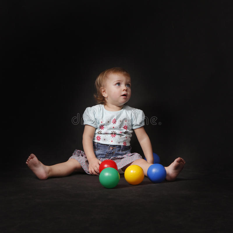 Download Baby Girl With Color  Balls Royalty Free Stock Photos - Image: 18005028