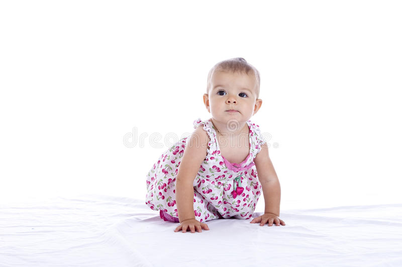 Download Baby girl crawling stock image. Image of cute, birth - 15745291