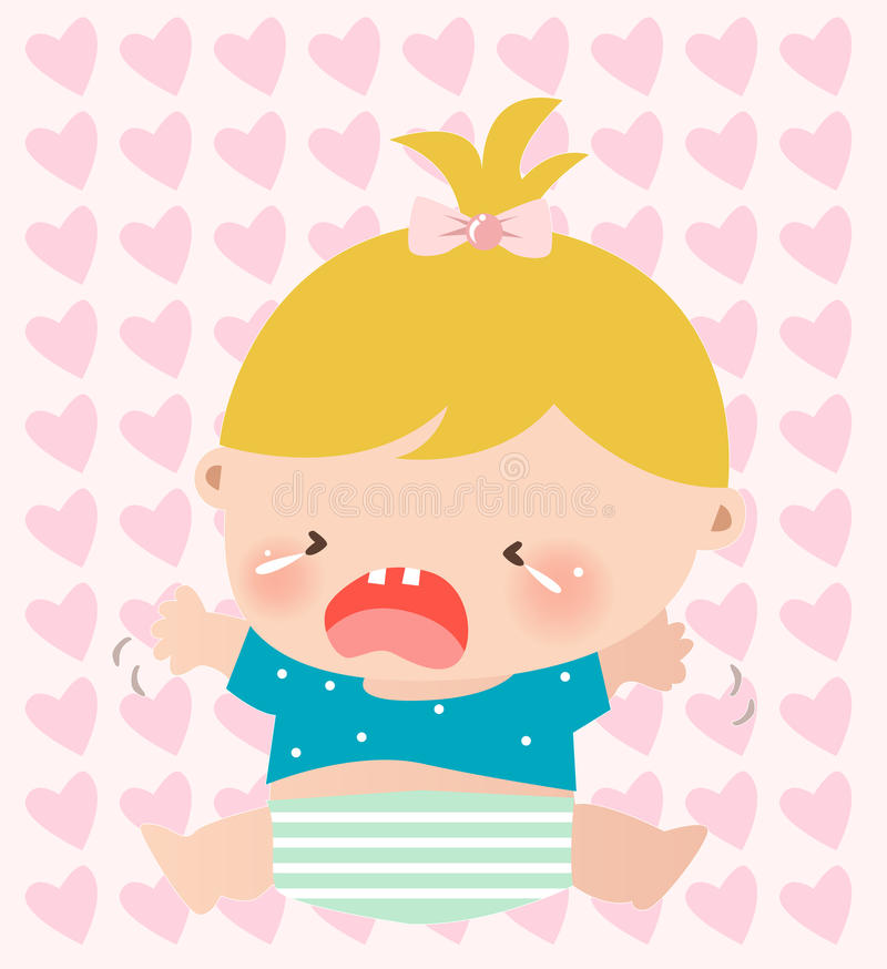 Baby girl crying royalty free stock images