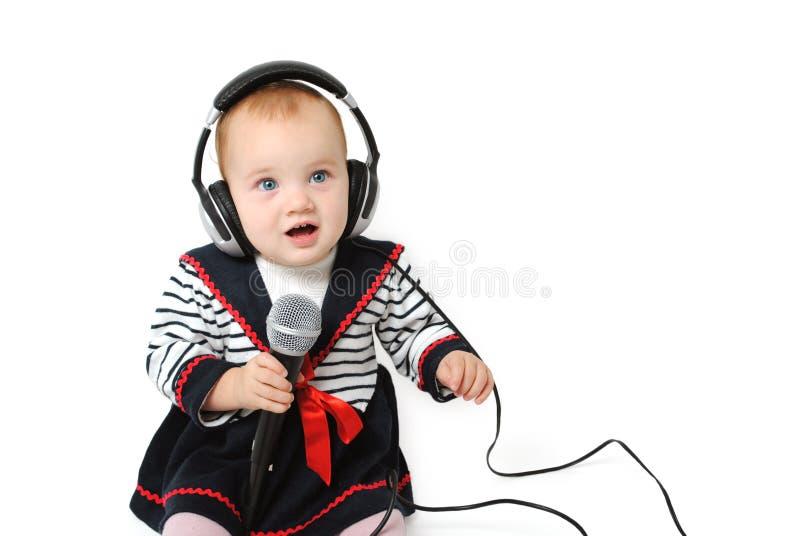 Baby girl Dj royalty free stock photos