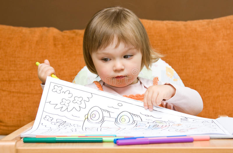 Download Baby Girl Drawing Royalty Free Stock Photography - Image: 9843787