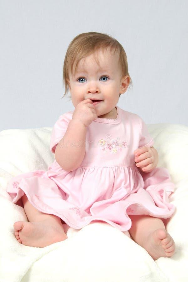 Baby Girl in Dress stock photo