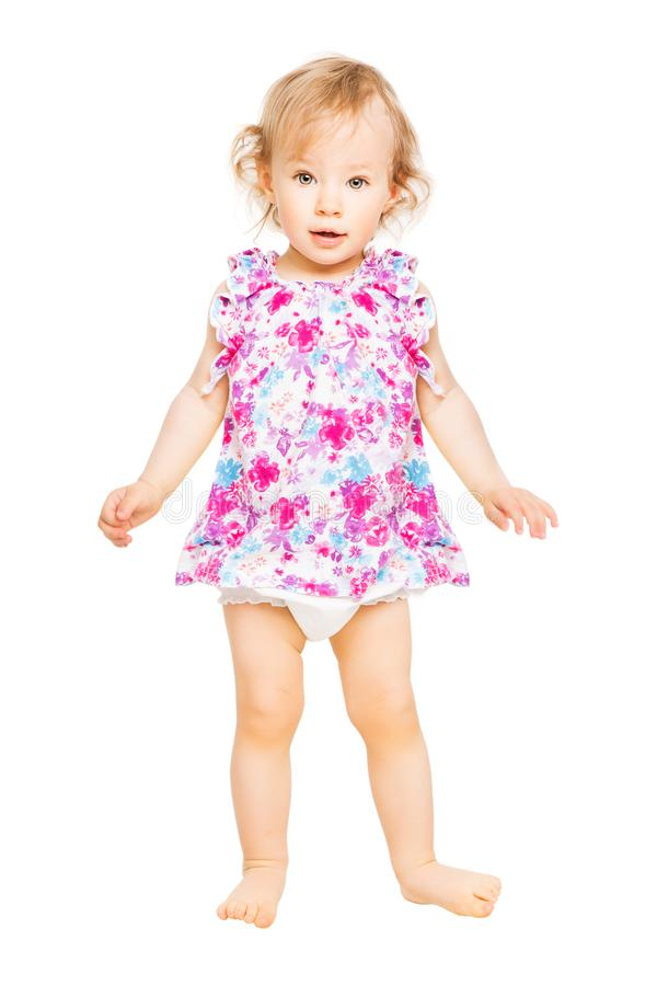 Baby Girl In Dress, Kid Standing on White, Child One Year Old stock images