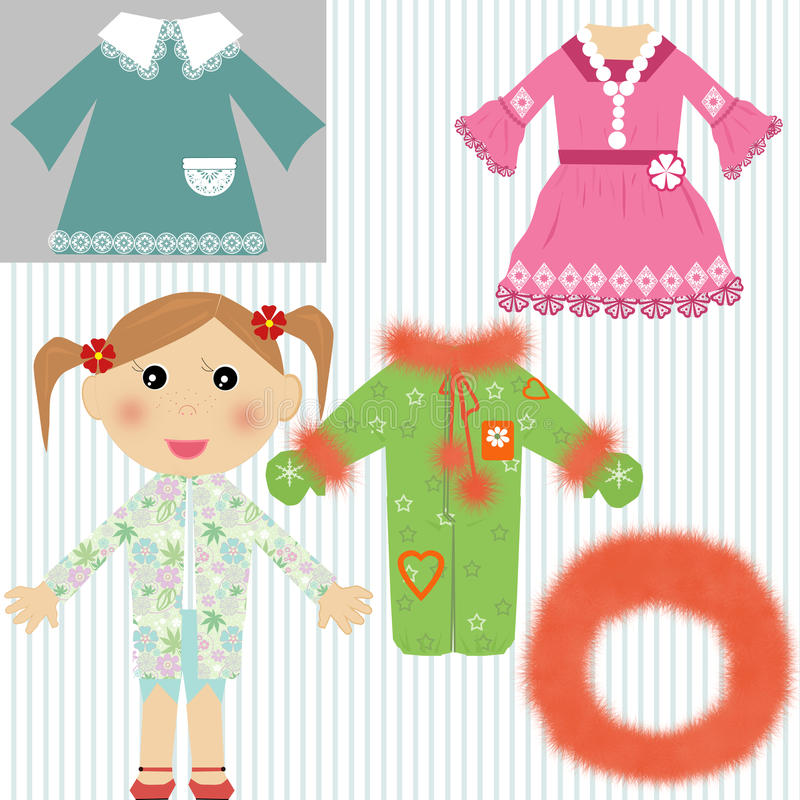Baby Girl with dresses, overall and hood vector illustration
