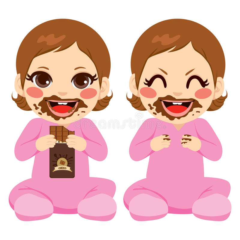 Baby Girl Eating Chocolate stock illustration