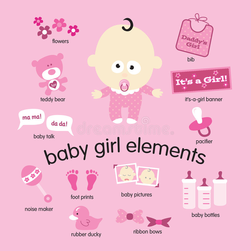 Download Baby Girl Elements stock vector. Image of backgrounds - 8468776
