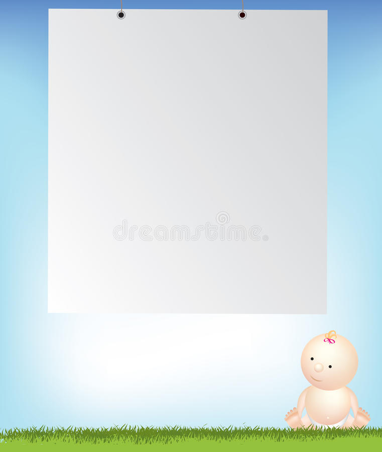 Baby girl by empty background space stock illustration