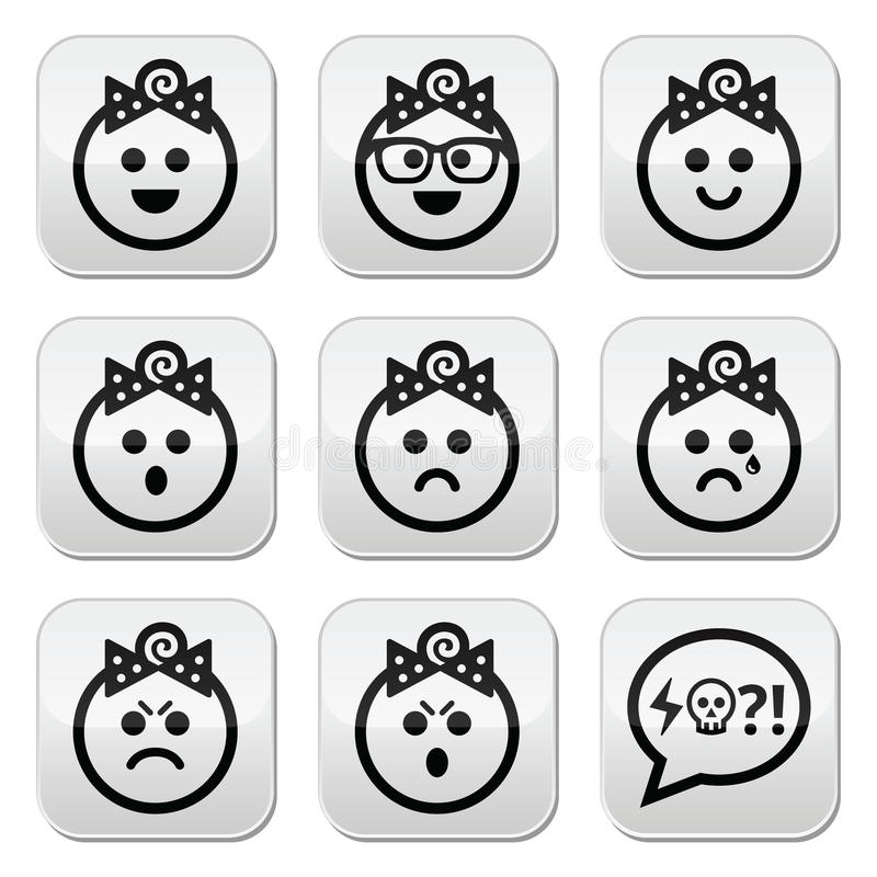 Baby girl faces, avatar buttons set. Collection of child faces - happy, sad, angry isolated on white royalty free illustration