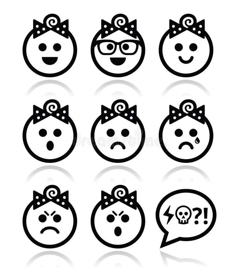 Baby girl faces, avatar icons set. Collection of child faces - happy, sad, angry isolated on white royalty free illustration