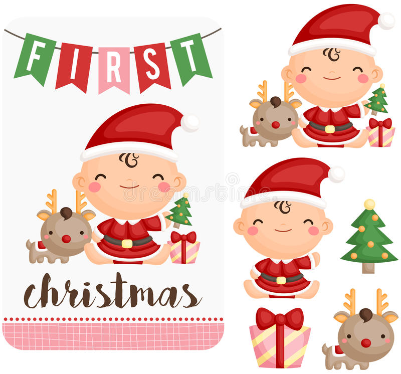 Baby Girl First Christmas Vector Set stock illustration
