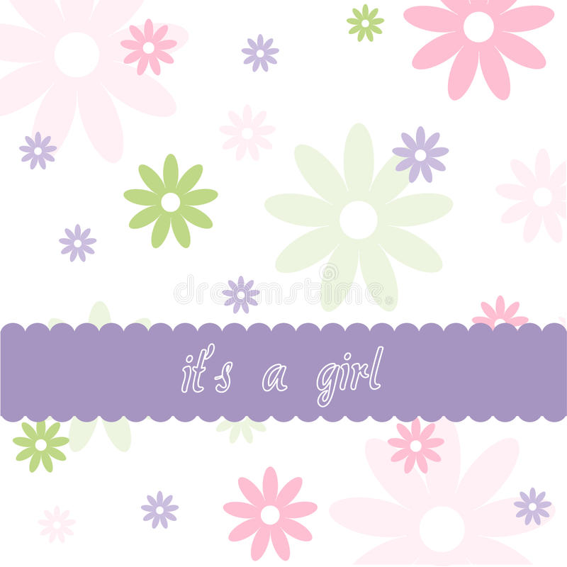 Baby girl floral card royalty free illustration