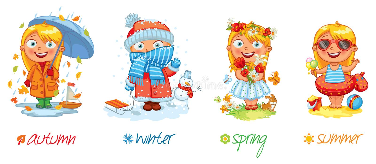 Stock Illustration Baby Girl Four Seasons Vector Illustration Isolated White Background Set Image48378070 on Four Seasons Clip Art
