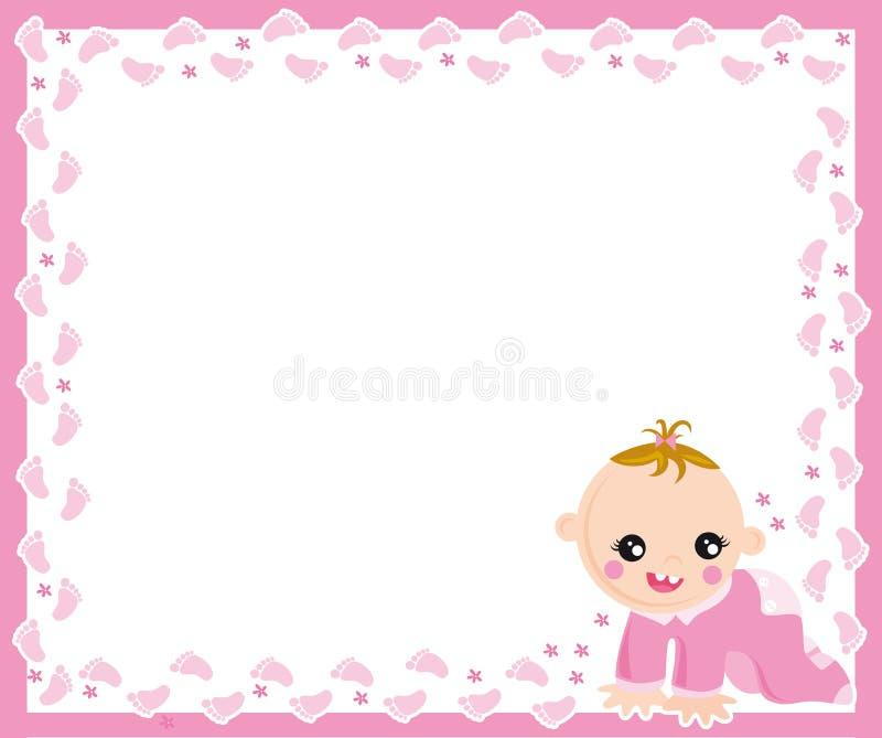 Baby girl frame. Illustration of frame of baby girl born