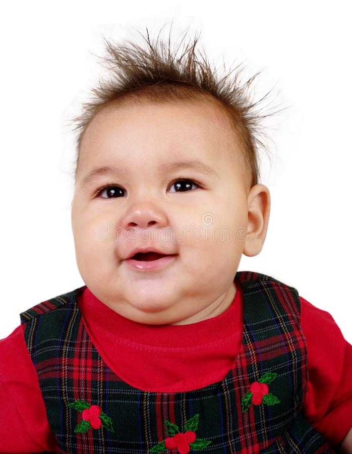 Download Baby Girl With Funny Spiky Hair Stock Image - Image: 17512633
