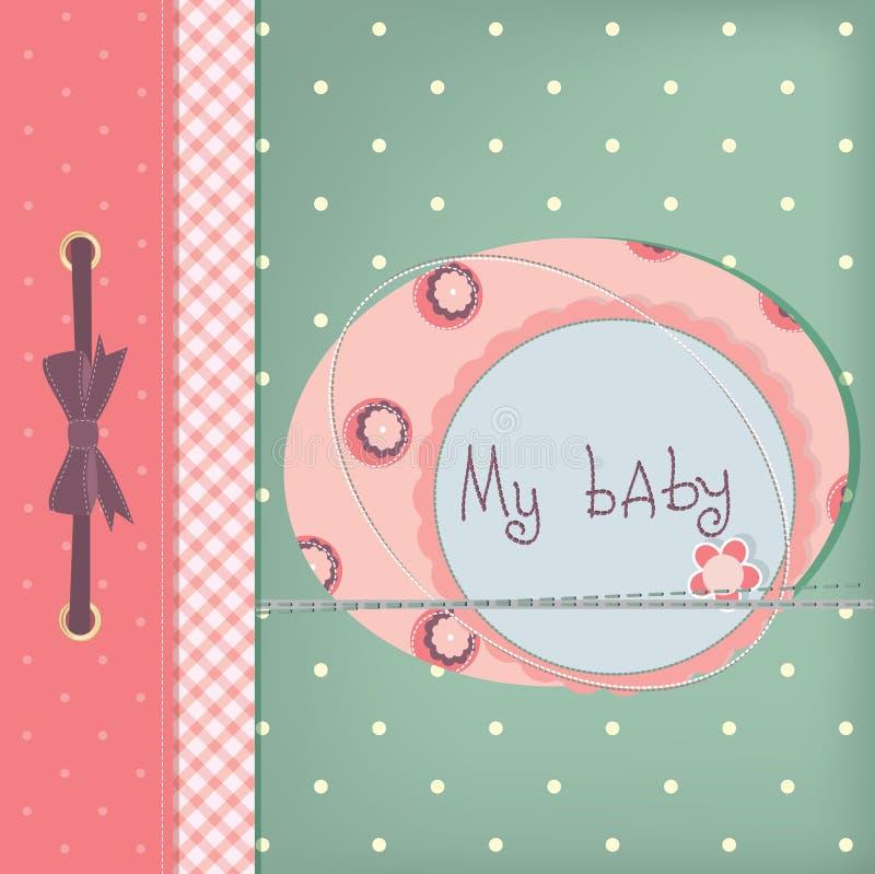 Baby girl greeting card. vector illustration
