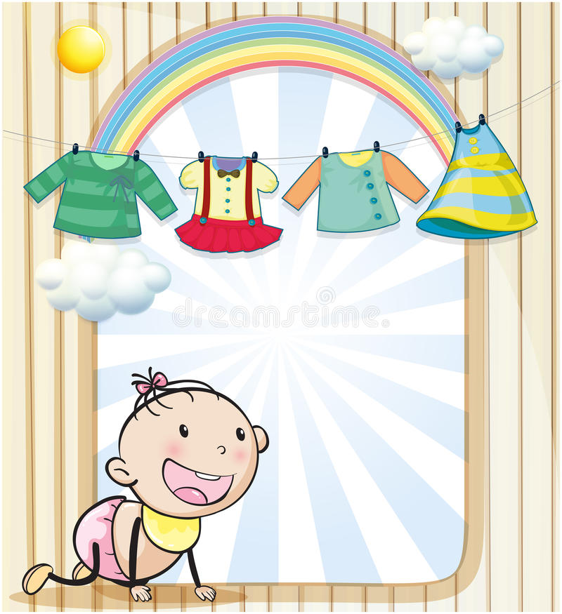 A baby girl with hanging clothes stock illustration