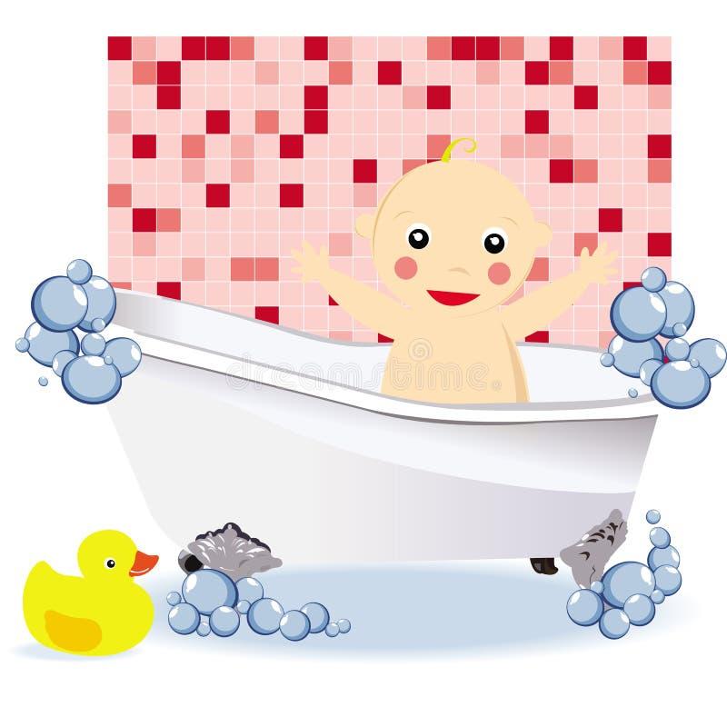 Baby girl having a bubble bath stock photos