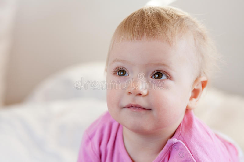 Download Baby girl at home stock image. Image of sweet, pink, child - 26517307