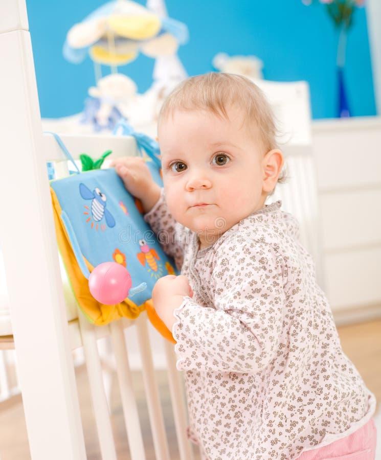 Baby girl at home stock photos