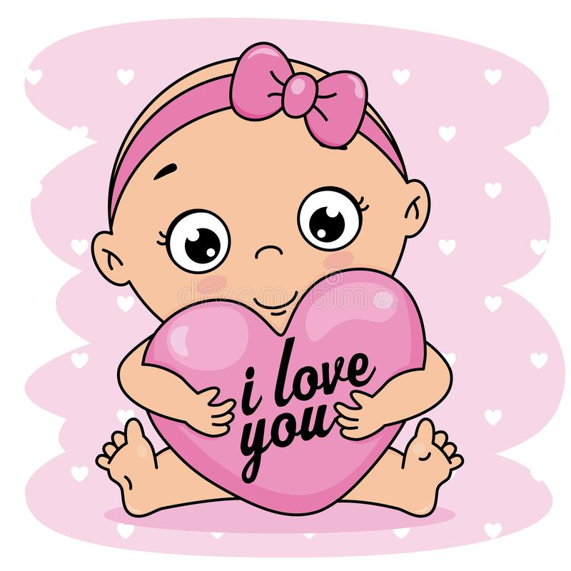 Baby girl hugging a heart royalty free illustration