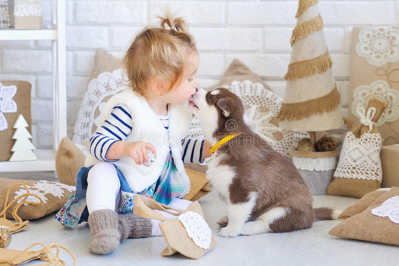Baby girl with Husky puppy royalty free stock photos