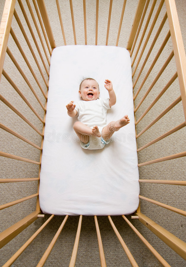 Free Baby Girl In A Crib Royalty Free Stock Photos - 5416018
