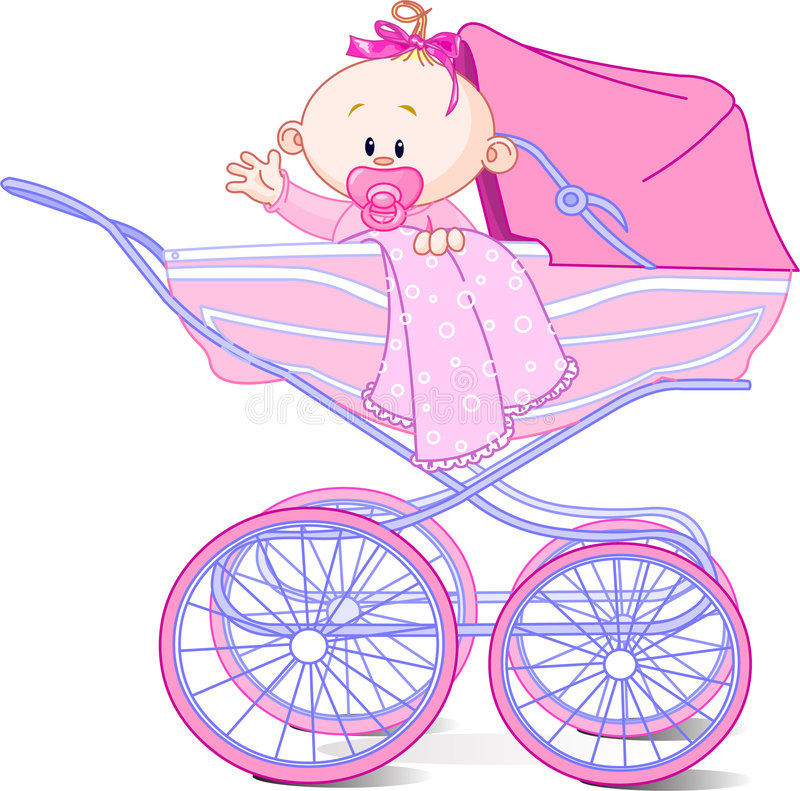 Free Baby Girl In Carriage Stock Image - 8789871