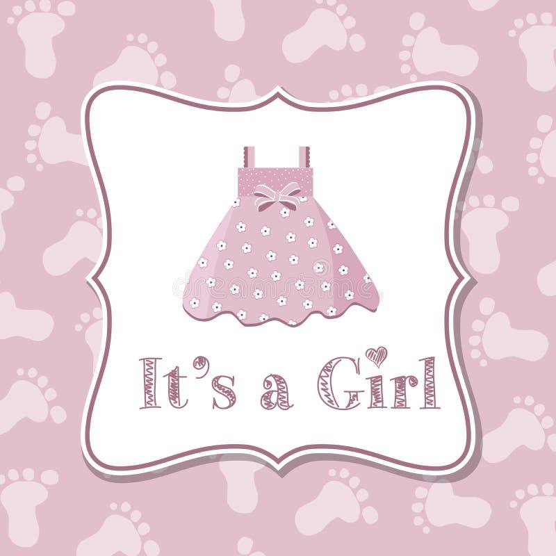 Baby girl invitation for baby shower vector illustration
