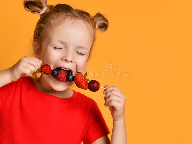 Baby girl kid in red t-shirt holding smelling biting eating fresh berries dessert with cherry strawberry raspberry on skewer. On yellow background stock image