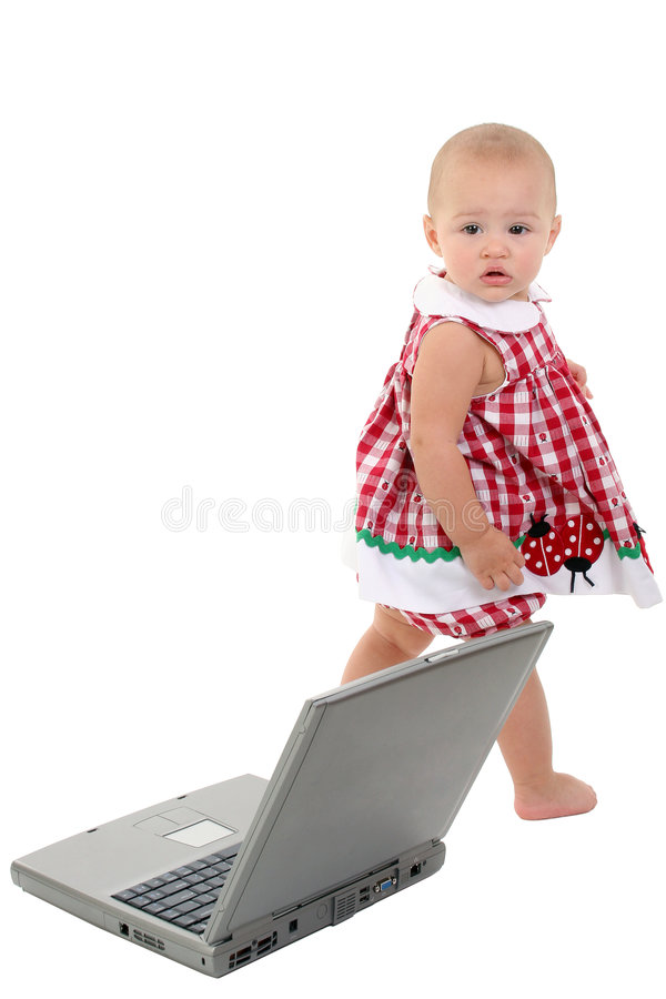 Baby Girl With Laptop Computer Over White. stock photos
