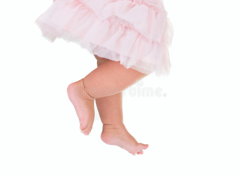 Baby girl like a ballet dancer in pink tutu stock photography