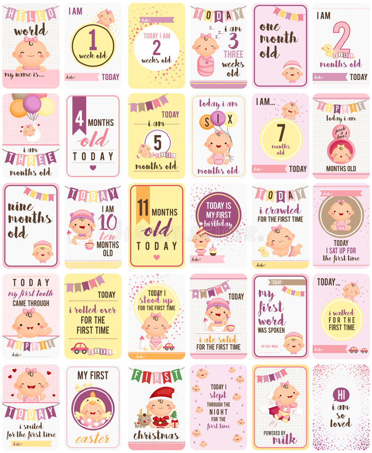 Baby Girl Milestone Cards stock illustration