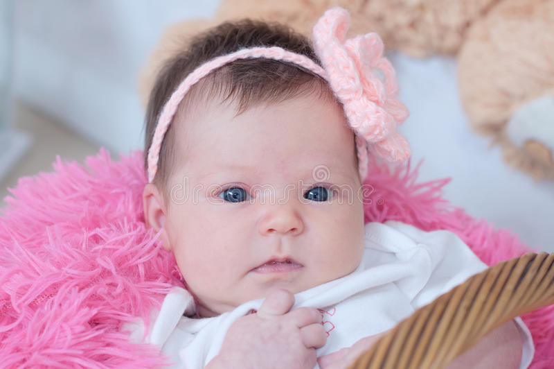 Baby girl newborn portrait in pink blanket lying in basket, cute face, new life. Baby girl newborn portrait in pink blanket lying in basket, cute face card royalty free stock photo