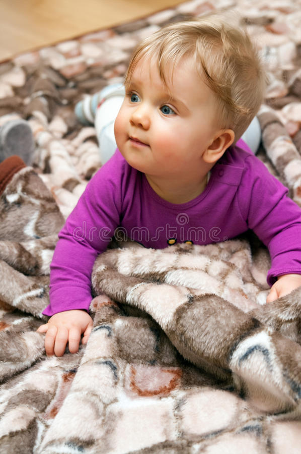 Free Baby Girl On Blanket Stock Photography - 17433182