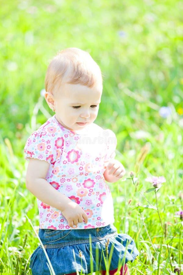 Baby girl outdoor stock photos