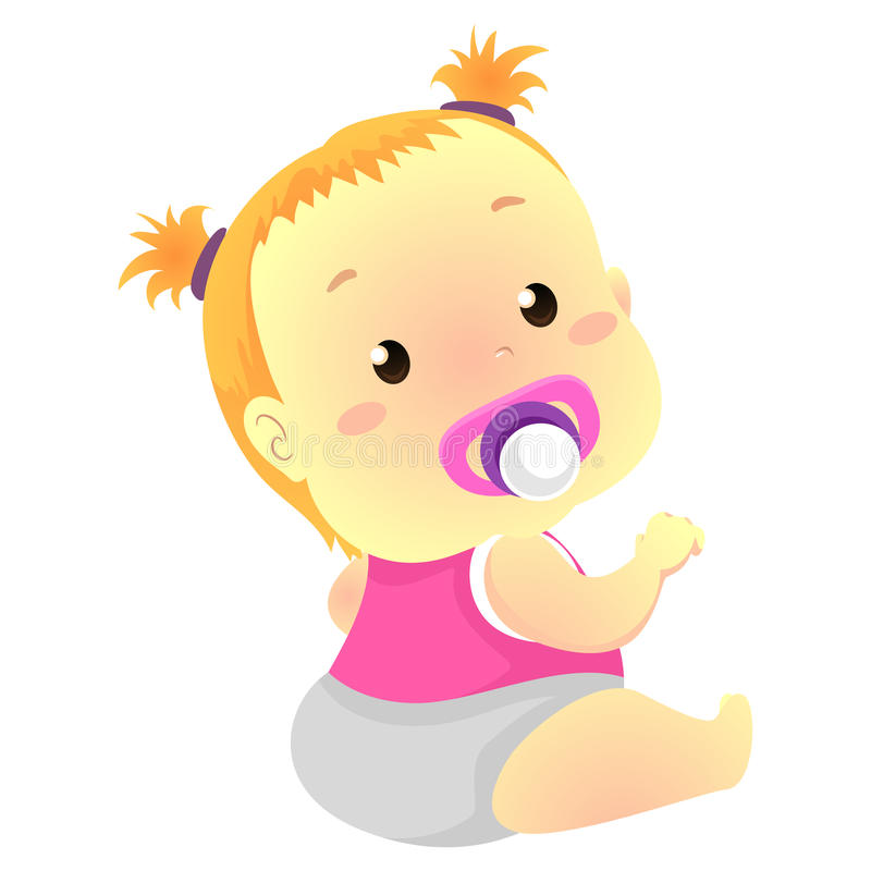 Baby Girl with Pacifier. Vector Illustration of Baby Girl with Pacifier stock illustration