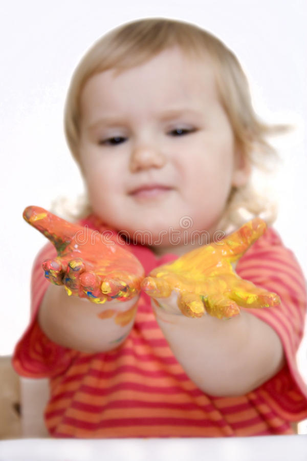 Download Baby Girl With Paint On Hands Stock Photo - Image: 11302706