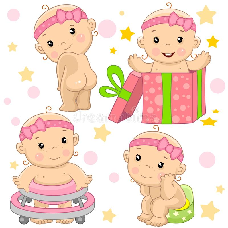 Baby girl 9 part. royalty free illustration