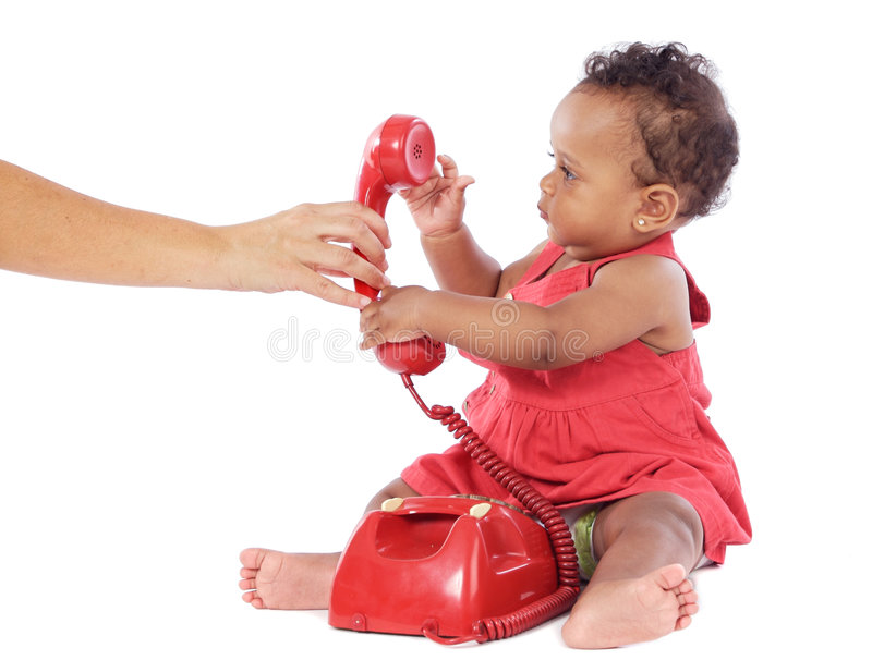 Baby girl with phone royalty free stock photo