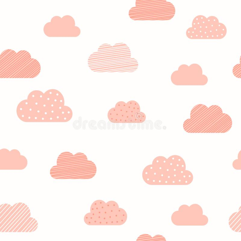 Baby girl pink clouds pattern background. Vector baby shower, Valentine and birthday or wedding greeting card cloud pattern. Baby girl pink clouds pattern royalty free illustration